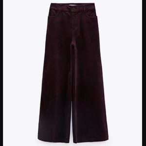 🔥MOVING SALE🔥NEW ZARA WIDE LEG CORDUROY PANTS